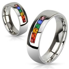 Refraction - Six Gem Stones Representing Colors Of Rainbow Stainless Steel Comfort-Fit Ring. #BuyBlueSteel #Jewelry