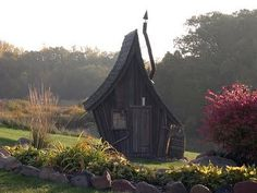 Whimsical little cottage by Dan Pauly. He uses reclaimed wood for these saunas/playhouses/guest cottages.