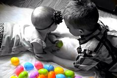 Little Girls First Easter. Brother and Sister Easter Photo 2014