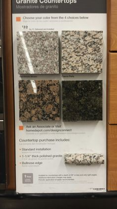 Granite countertops $32 per sqft foot delivered & installed from home depot. Crema Perla in our kitchen