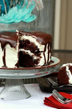 Tuxedo Cake with whipped cream frosting & chocolate ganache glaze
