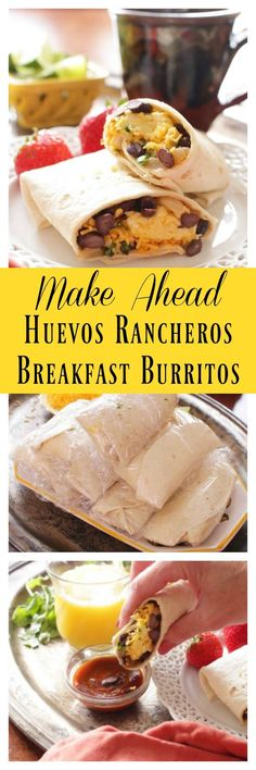 Make Ahead Huevos Rancheros Breakfast Burritos filled with spicy black beans, onions and garlic, eggs, cheese and cilantro. Make a bunch and freeze for easy grab and go breakfasts.