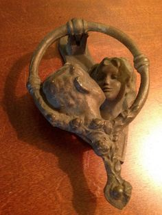 "Art Nouveau Lovers Kissing Door Knocker by BuckyLuck on Etsy. $120.00, via Etsy.   --- I really love this!  Reminds me of Rodin's ""The Kiss""."