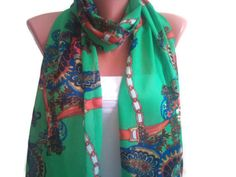 Beautiful Green scarf. Multicolor scarf. by TrendyScarf on Etsy, $12.99
