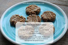Sugar Free Peanut Butter Cookies!  (S)  Find more sugar free recipes at www.ahomewithpurpose.com