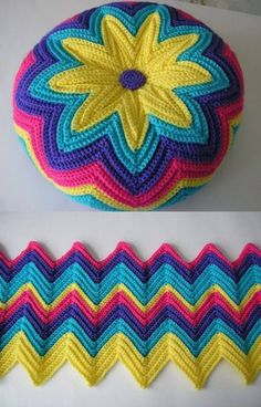 Crochet Daisy Flower Blanket Free Patterns Simple Crochet Pillow Cover Pattern - Home Ideas Zig Zag Crochet, Crochet Daisy, Crochet Flower Patterns, Crochet Mandala, Crochet Home, Easy Crochet, Crochet Stitches, Knitting Patterns, Knit Crochet