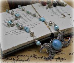 Amethyst Triple moon necklace goddess  by SpellboundOriginalz