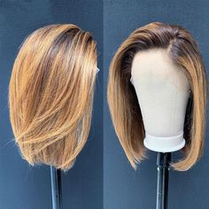 KGBL Short Bob Ombre Color 13 4 Lace Front Middle Ratio Human Hair Wigs Brazilian Non-Remy Hair Pre-Plucked Wigs. Messy Bob Hairstyles, Wig Hairstyles, Human Hair Lace Wigs, 100 Human Hair, Real Hair Wigs, Natural Hair Styles, Short Hair Styles, Hair Short Bobs, Natural Looking Wigs