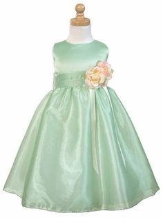 Sage Satin Party Dress w/Free Hair Wreath, Sage Flower Girl Dresses, Flower Girl Dres Green Flower Girl Dresses, Little Girl Dresses, Green Dress, Flower Girls, Girls Dresses, Baptism Dress, Christening Gowns, Spring Outfits, Kids Outfits
