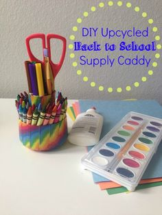 Outnumbered 3 to 1: #DIY Upcycled Back to School Supply Caddy