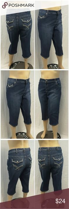 """40% BUNDLE DISCOUNT! FREE SHIPPING ON BUNDLES!! *Plus* VENEZIA Denim Capri, size 24 See Measurements, embroidered button flap pockets, machine washable, 65% cotton, 22% polyester, 11% rayon, 2% spandex, approximate measurements: 23"""" waist laying flat, 19"""" inseam, 5"""" zipper, 12"""" rise. ADD TO A BUNDLE! 40% BUNDLE DISCOUNT! FREE SHIPPING ON BUNDLES!! ?OFFER? $6 LESS ON BUNDLES! Only ?offers? of $6 less on Bundles for shipping reimbursement. Venezia Jeans Ankle & Cropped"""