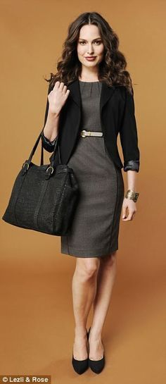 Interview Attire: Black cardigan over a classy grey dress. Business Dresses, Business Attire, Business Fashion, Business Formal, Business Chic, Business Professional Attire, Business Outfits, Business Women, Office Outfits
