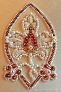 Pearl and goldwork embroidery - stylized pomegranate design by carlasisters