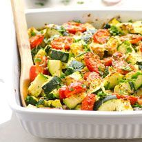 Garlic Parmesan Zucchini and Tomato Bake - iFOODreal | Delicious Clean Eating Recipes