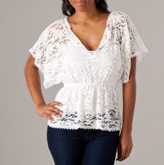V-Neck Lace Top with Elastic Waist