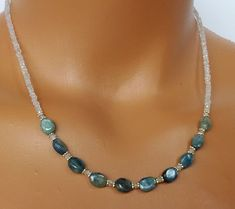 Kyanite Necklace Moonstone Beaded Necklace by TamDavisDesigns