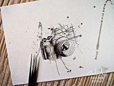 tatuagens cameras fotograficas em aquarela - Pesquisa Google