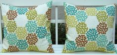 Throw Pillow Covers Decorative pillows 20 x 20 Inches Confetti Pom Pom Print in Green, Brown and Aqua. $35.00, via Etsy.