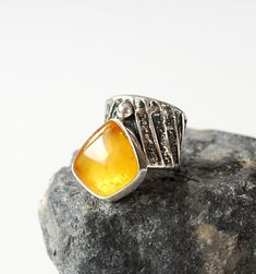 Artistic Natural Baltic Amber Ring, Unique Amber Ring, Amber And Sterling Silver Adjustable Ring, Baltic Amber Jewellery, Yellow Amber Ring