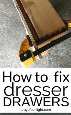 Are your old dresser drawers hard to open? These quick tips will fix your sticky dresser drawers. Learn how to replace the bottom of a drawer, how to make old dresser drawers slide better, how to repair dovetail drawer sides with Bondo, how to remove dresser drawers, and how to repair sagging drawers. Thrift finds, old bedroom dressers, and old furniture has broken drawers that can be fixed! Before painting furniture, use these tips to fix the drawers.