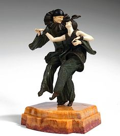 "Demetre H. Chiparus (Romanian 1886 - 1947), Paris, Sculpture, ""Bal Costume"", Cold-painted, Patinated Bronze, Ivory and Onyx Base."