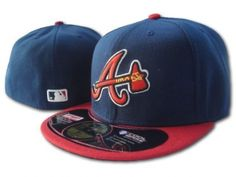 Casquette 59Fifty MLB Atlanta Braves Snapback Marine Rouge Casquette New Era  Pas Cher Baseball Hats f9d2322bcc8d