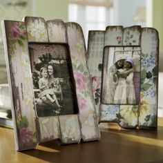 Cute idea for the country shabby chic look - use small planks or old rulers, add wallpaper or even gift wrap to them, then sand them down and use them as picture frames. No tutorial on the link, it's a retail site - but this could easily be done using recycled materials