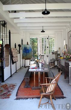 Horse stalls as art studio.  My DREAM!!!!  All time favorite pin on here to date.  See this, Sherrill, LeAnn?  Y'all need it, too.  I'd share the space in a barn!