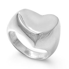"13mm (0.57inch) MODERN ""Large/Thick Heart"" Plain High Polished COOL HIP CHIC Contemporary Style Finger, Thumb Ring Size 5-11 & Half Size 6.5, 7.5 (10, .925 Italian Sterling Silver) THE ICE EMPIRE JEWELRY, LLC http://www.amazon.com/dp/B00CWGZVX6/ref=cm_sw_r_pi_dp_JRlFub1WF90VJ"