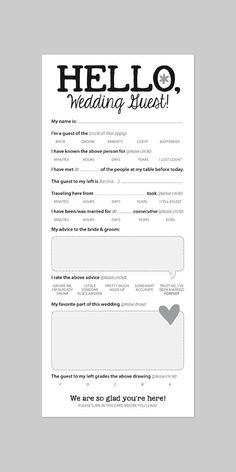 WEDDING GUEST CARD Funny Marriage Advice Card von helloinklings