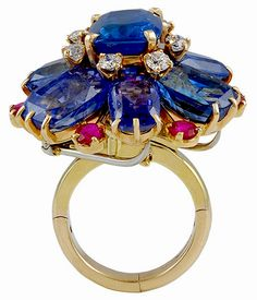 H & D Diamonds is your direct contact to diamond trade suppliers, a Bond Street jeweller and a team of designers.www.handddiamonds... Tel: 0845 600 5557 - CARTIER 1950's Diamond,Sapphire & Ruby Ring view2