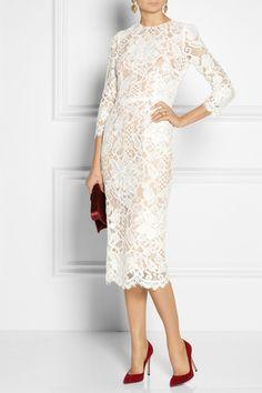 Dolce & Gabbana|Lace and silk-organza midi dress|NET-A-PORTER.COM