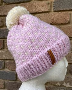 Excited to share this item from my #etsy shop: Knitted pink beanie, pink merino wool beanie, ladies pink cream PomPom beanie, fair isle pink cream winter hat Etsy Handmade, Handmade Items, Pink Beanies, Fair Isle Pattern, Knit In The Round, Slouchy Beanie, Merino Wool, Hand Knitting, Collaboration