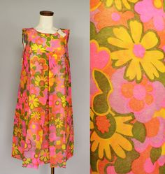 Sale - NWT Deadstock - 60s Mod - Bright Psychedelic Floral - A Line - Throw-Away Fashions - Poly Paper - Shift Dress on Etsy, $74.00