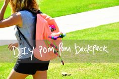 DIY Backpack : DIY pom pom backpack Teen Words, Diy Backpack, Diy Back To School, Diy Tutorial, How To Make, How To Wear, Backpacks, Sweaters, Jackets