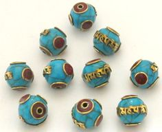 Tibetan blue crackle resin Om mantra bead with by Nepalbeadshop
