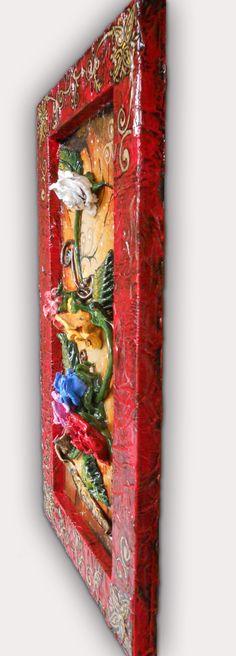 CUADRO DE ROSAS. Hecho con pasta de modelar en alto relieve sobre madera. Todo hecho a mano incluido la decoración del marco. Painting Roses made with modeling paste on wood in high relief. All handmade decoration frame included.