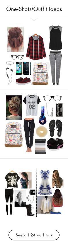 """""""One-Shots/Outfit Ideas"""" by aliciamixer on Polyvore featuring Topshop, Daydreamer, JanSport, Vans, Jewel Exclusive, Skullcandy, Ray-Ban, Old Navy, Beats by Dr. Dre and Bling Jewelry"""