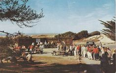1965 Postcard Men Gather @ Barbecue Area ASILOMAR Pacific Grove California | eBay