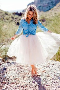 I would love to pair the tulle skirt with my evergreen chambray Shirt. I'm simply in Love with this piece. <3 Tulle Skirt Outfits <3