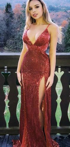 9436766e1ece Sexy Sheath Deep V-Neck Spaghetti Straps Sleeveless Sequined Long Prom Dress  A0899 from ModelDressy