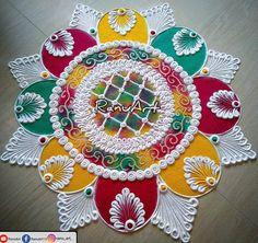 Rangoli Designs Latest, Simple Rangoli Designs Images, Rangoli Designs Flower, Rangoli Patterns, Rangoli Border Designs, Rangoli Ideas, Rangoli Designs Diwali, Rangoli Designs With Dots, Flower Rangoli