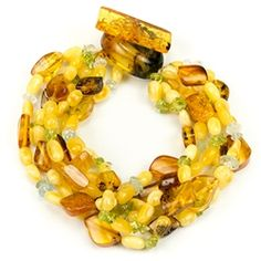 Bozena Przytocka is a designer of artistic amber jewelry based in Gdansk, Poland. Here is a beautiful example of her ability to blend amber, peridot and aquamarine to create a stunning 6 strand bracelet. Amber Beads, Amber Jewelry, Trendy Jewelry, Fashion Jewelry, Women Jewelry, Gold Fashion, Beaded Jewelry, Amber Bracelet, Strand Bracelet