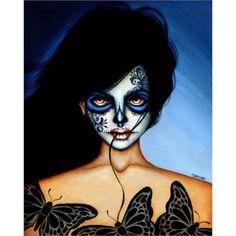 You Belong to Me Mexican Death Mask by Cat Ashworth Tattoo Art Print | Moodswingsonthenet - Art on ArtFire