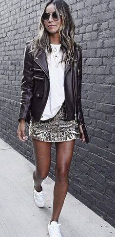 how to style a sequins mini skirt with tennis sneakers. sequins skirt. moto jacket,#affordablefashion #springfashiontrend #springfashion #springtrend #summerstyle #casualfashion #affordablefashion #fblogger #styleblogger #fashionblogger