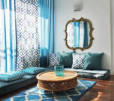 Moroccan Inspired Interiors | Arabesque Rooms | Interior Design | Sofra | Floor Seating | Cushions