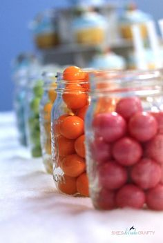 Candy in mason jars at a Rainbow Party #rainbowparty #candy
