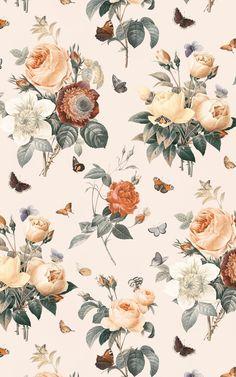 Cream & Orange Vintage Floral Wallpaper | Murals Wallpaper