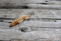 A handmade wooden fish decoy sits on a weathered old table.