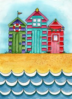 For Painting On Etsy The Place To Express Your Creativity Through Ing And Of Handmade Vintage Goods Beach Huts